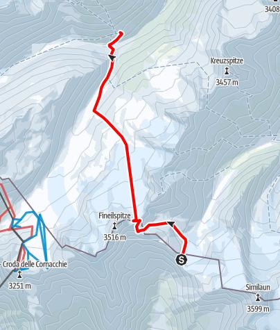 Kaart / Venter Skirunde im UZS, Variante Etappe 4/5: Similaunhütte - Hochjochhospiz