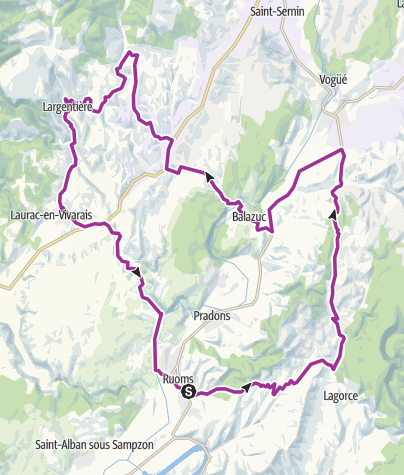 Carte / Ruoms Lagorce Balazuc Largentiere 52 km