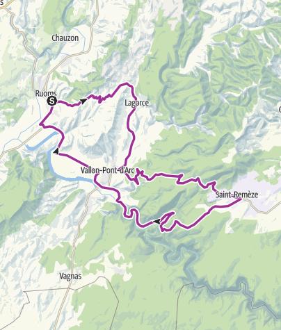 Carte / Ruoms -  st Remeze - Vallon P D'arc - Ruoms 51km