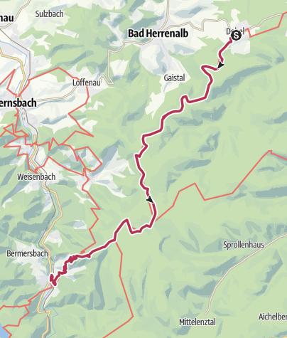 Map / Westweg: stage 02 (Dobel - Forbach)