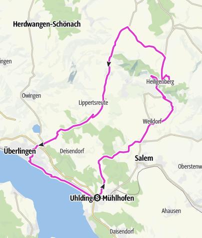 Karte / Oberuhldingen - Heiligenberg - Hattenweiler - Überlingen