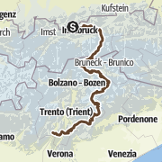 Map / From Mittenwald to Riva del Garda through the Zillertal and the Dolomites
