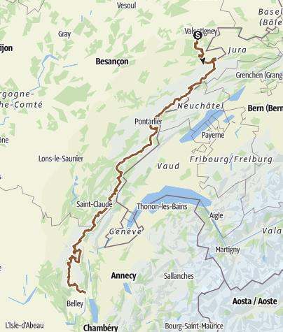 Carte / Grande Traversée du Jura à VTT