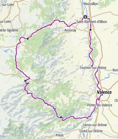 Carte / Boucle cycliste 215km départ Serrières