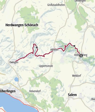Karte / Jubiläumsweg Bodenseekreis: von Heiligenberg nach Owingen