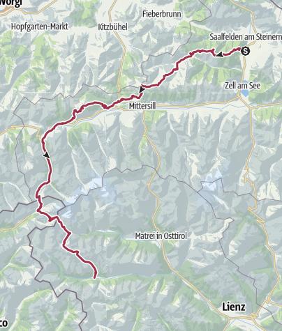 Karte / Saalfelden nach St. Jakob im Defreggen