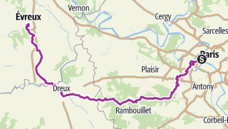 Carte / Paris-Evreux 160 km