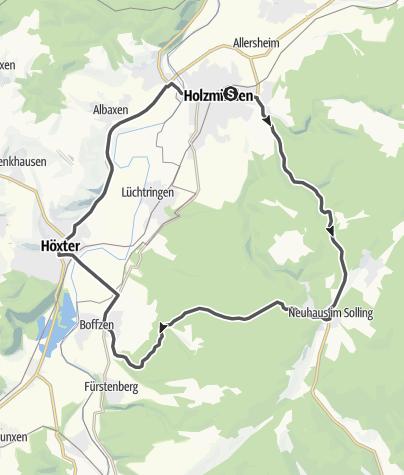 Karte / Motorradtour 1: Holzminden-Solling-Boffzen-Höxter-Holzminden