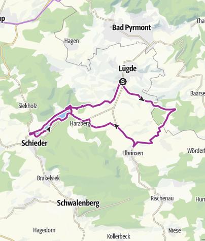Karte / Lügde-Elbrinxen-Stausee