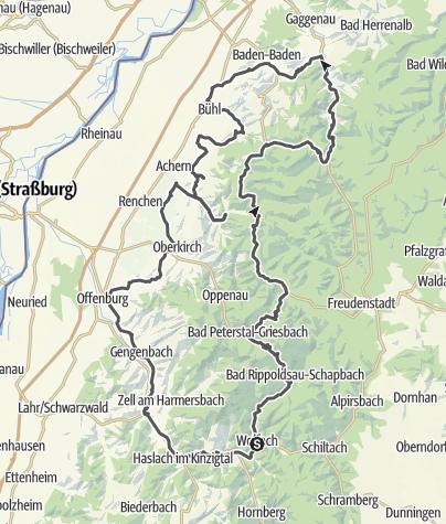 Karte / Schwarzwaldhochstrasse - Bad. Weinstrasse