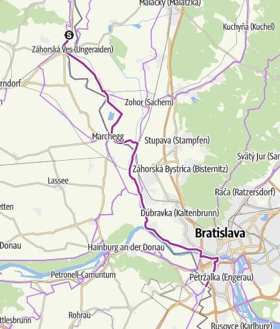 Map / EV13 Etappe 10: Mannersdorf - Bratislava