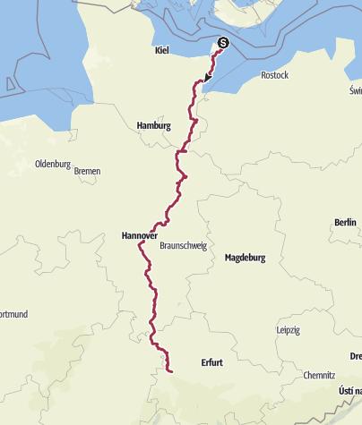 Karte / Jakobswege Deutschland - Via Scandinavica - Von Fehmarn bis Eisenach