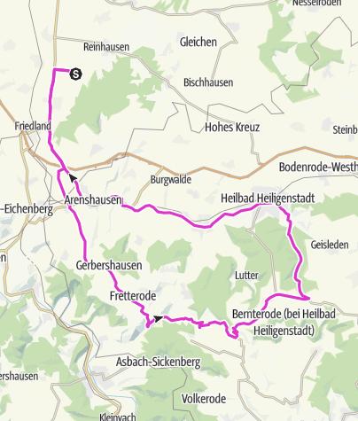 Karte / Ballenhausen - Gerbershausen - Fretterode - Dieterode - Kalteneber - Heiligenstadt - Uder - Arenshausen