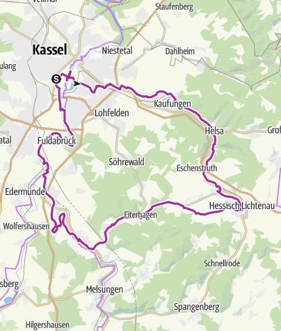 Karte / Kassel-Looseradweg-Fuldaradweg-Kassel