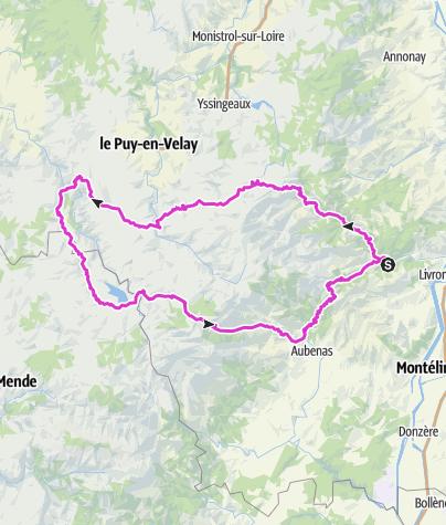 Carte / Ardeche-Rundfahrt 2020 ab Les Ollieres