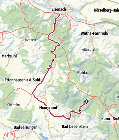 Map / Luther Trail: Section 01 – From Glasbachgrund to Eisenach