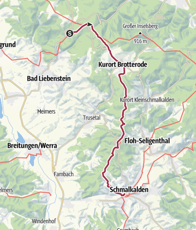 Map / Luther Trail: Section 02 – From Glasbachgrund near Steinbach to Schmalkalden