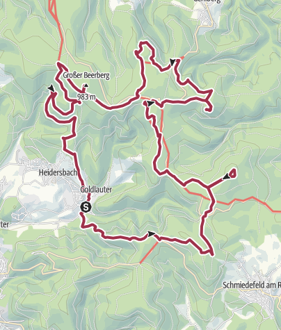 Map / Wanderung - Gipfelwanderweg - Suhl-Goldlauter - Thüringer Wald