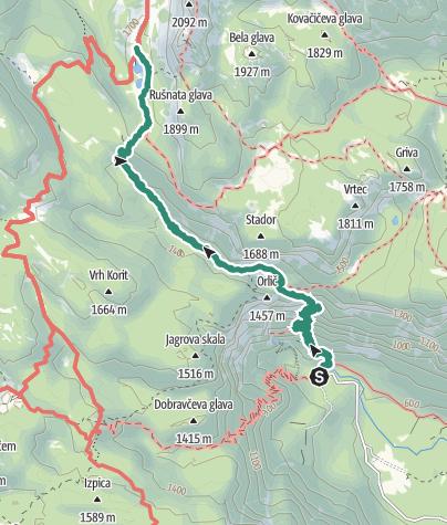 Zemljevid / Parking Lot Savica to Koča pri Triglavskih