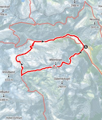 Kaart / Über den Wildenkogelweg zum Gletscherweg