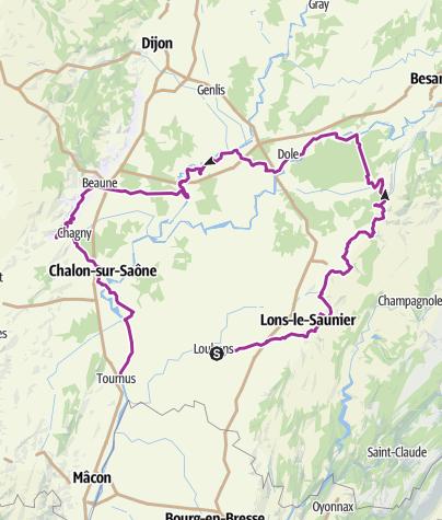 Carte / VTC Louhand-Lons le Saunier-Dole-Beaune-Tournus
