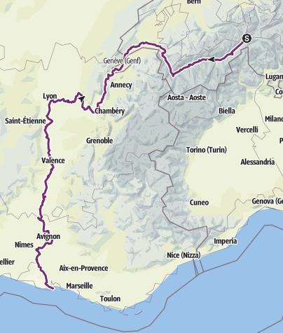 Carte / Rhone-Radtour 2020