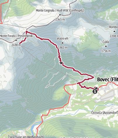 Map / Bovec to Kanin