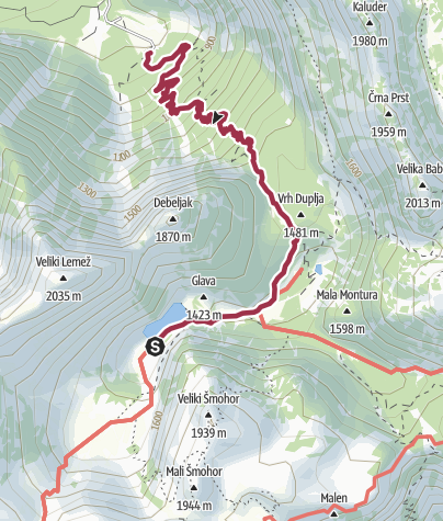 Map / Wanderweg zum See Krnsko Jezero