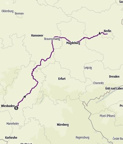 Karte / Frankfurt - Berlin auf Themenradwegen