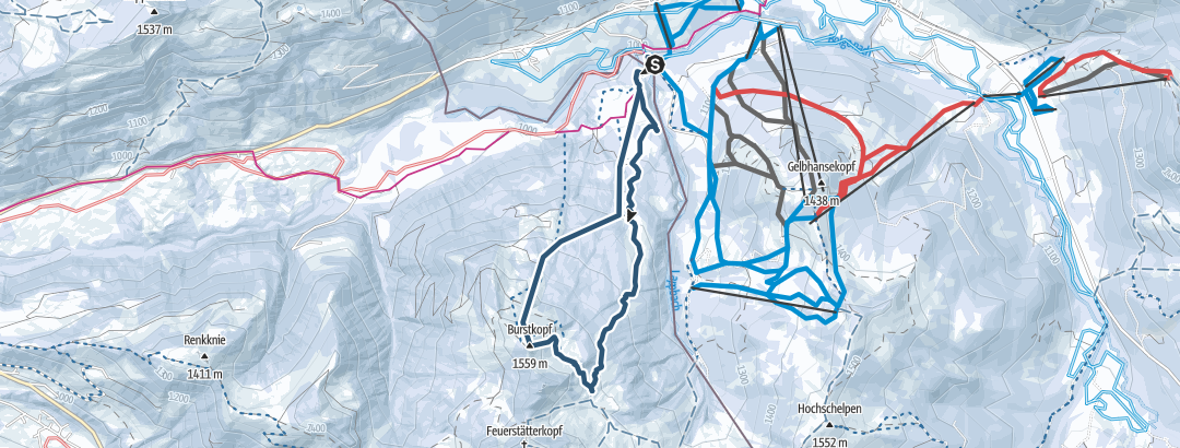 Map / Burstkopf 1553 m, optimierte Skiroute