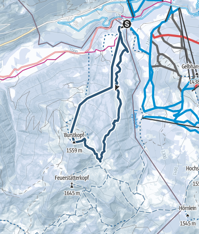Map / Burstkopf 1553 m, optimierte Skiroute