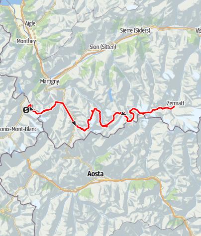 Kaart / Haute Route te voet; Chamonix naar Zermatt
