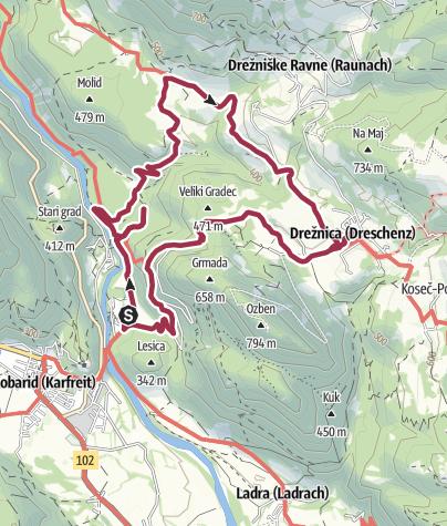 Karte / Von Kobarid zum Wasserfall [Slap] Kozjak und nach Dreznica