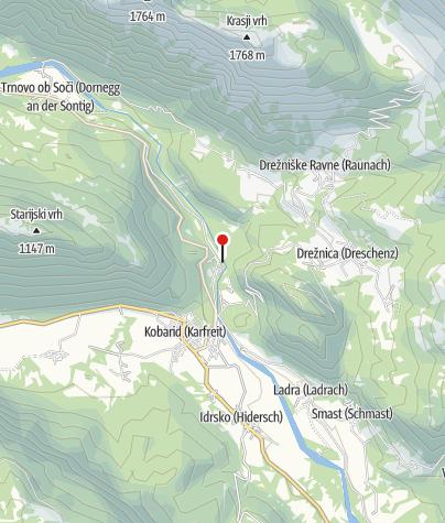 Map / Hängebrücke über die Soča bzw. den Isonzo
