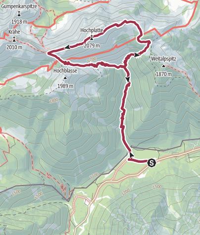 Karte / Hochplatte, 2082 m
