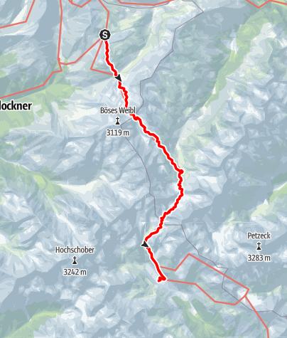Kaart / Fuscher Tal - Lienz - Etappe 3: Glorer Hütte - Lienzer Hütte
