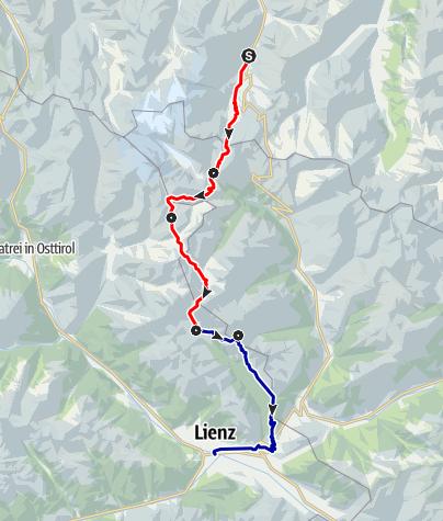 Kaart / Alpenüberquerung vom Fuscher Tal bis Lienz (Teil von Berchtesgaden-Lienz)