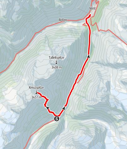 Kaart / Martin Busch Hütte - Kreuzspitze - Martin Busch Hütte - Abstieg nach Vent
