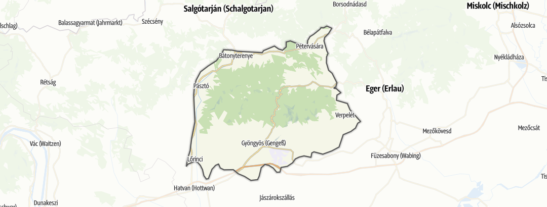 Map / Mountain biking trails in Mátravidék