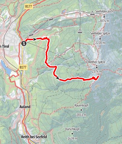 Kaart / Zustieg Nördlinger Hütte von Seefeld