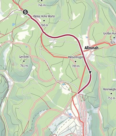 """Karte / Wanderung - """"Erlebnispfad Laurabahn"""" - vom Bahnhof Rennsteig nach Frauenwald"""