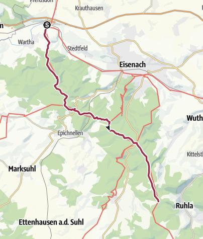 Map / Wanderung - Rennsteig - Etappe 1 - Von Hörschel nach Ascherbrück / Ruhla