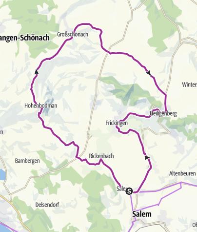 Karte / E-Bike Rundtour vom Schloss Salem in die Linzgauer Kulturlandschaft