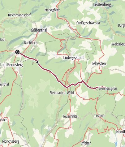 Map / Wanderung - Rennsteig - Etappe 7 - Von Spechtsbrunn nach Brennersgrün