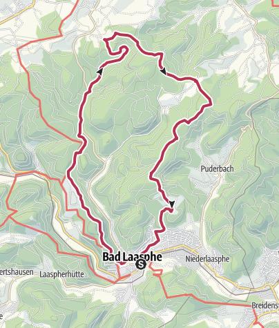 """Map / L6 / L7 - Laaspher Ortswanderweg """"Nach Sassenhausen über Schloss Wittgenstein und wieder zurück über das Harfeld"""""""