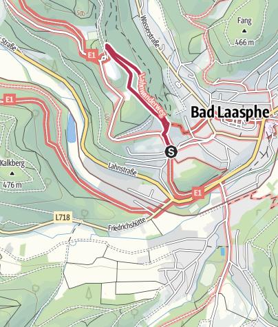 Kaart / Kurterrainwege - Ortswege Bad Laasphe - Herzweg blau 1