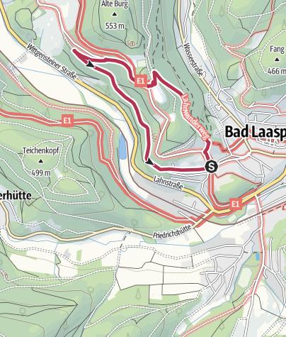 Karte / Kurterrainwege - Ortswege Bad Laasphe - Herzweg blau 2