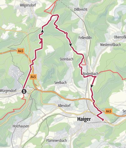 Map / ÖPNV-Tour: Auf dem Rothaarsteig von Burbach-Würgendorf nach Haiger