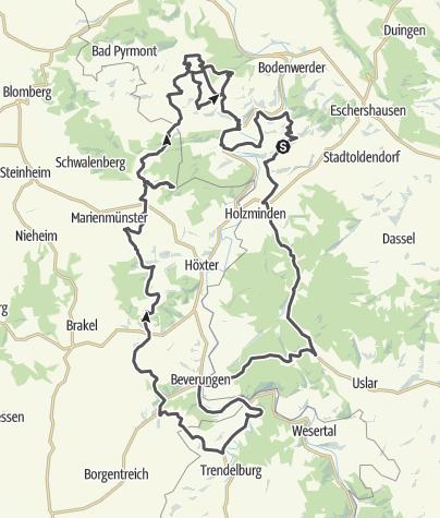 Karte / Tour 2: Ottensteiner Hochebene - Beverungen - Neuhaus - Bevern