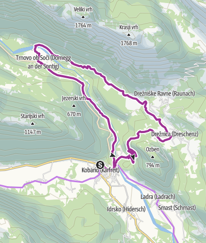 Map / Circular cycling tour along the Soča River past the village of Drežnica to the village of Trnovo ob Soči